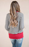 Striped Button Snap Cardigan