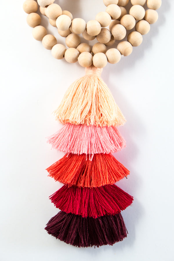 Wood Bead Tassel Necklace | 9 Colors
