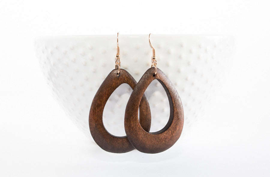 Natural Wood Cut Out Earrings | 2 Colors
