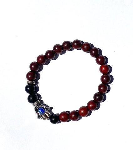 Red Rosewood and Black Peachwood Hamsa Bracelet
