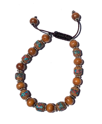 Rudraksha with Turquoise and Cedarwood bracelet, with metal spacers