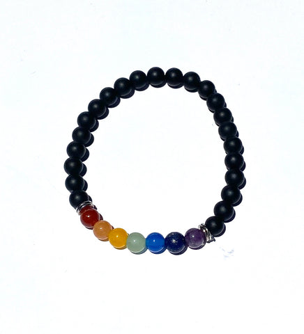 Lava Rock Chakra Bracelet with Metal Spacers- Medium