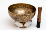 Hand-Hammered, Flower-Etched Himalayan Singing Bowl - Note E, 1683 grams