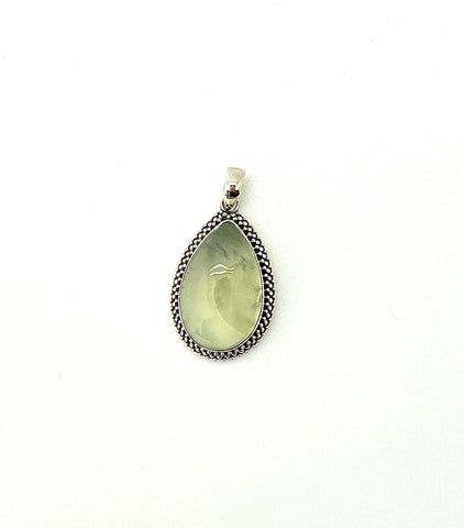 Prehnite Cabochon Teardrop Pendant in Granulated Setting
