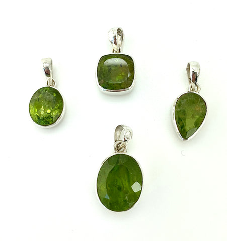 Peridot Faceted Pendant, Teardrop