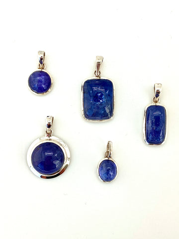 Tanzanite Cabochon Pendant, Medium - round and oval