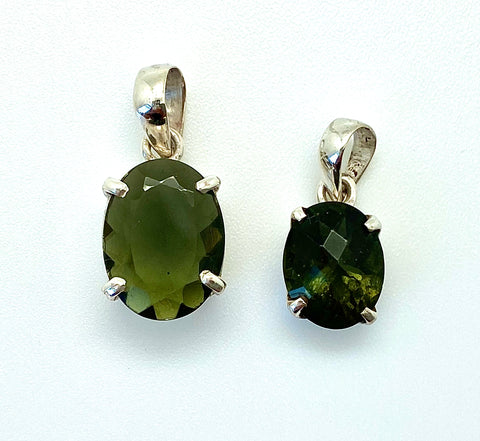 Moldavite Faceted Pendant, Medium - Crown Setting