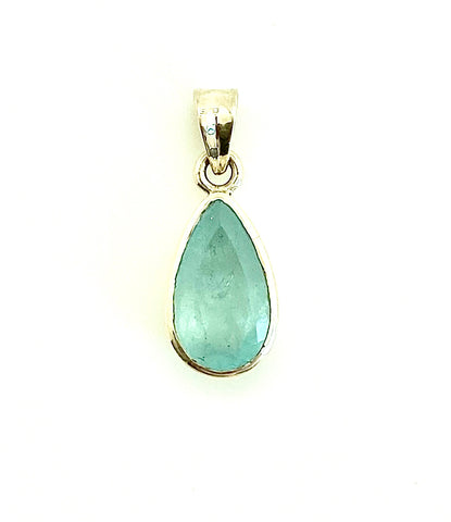 Aquamarine Faceted Pendant Teardrop Small