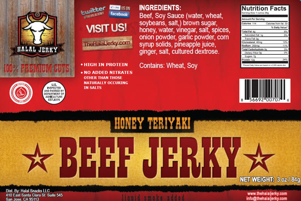 Honey Teriyaki Flavor 4-pack (3 Oz Bag) - Halal Jerky