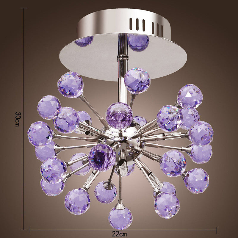 6-light Floral Shape K9 Purple Crystal Chandelier CL137