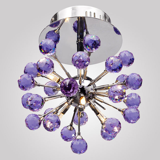 6-light Floral Shape K9 Purple Crystal Chandelier CL137 - Cheerhuzz