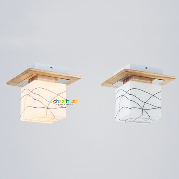 Wooden Glass Ceiling Lamp CL114 - Cheerhuzz