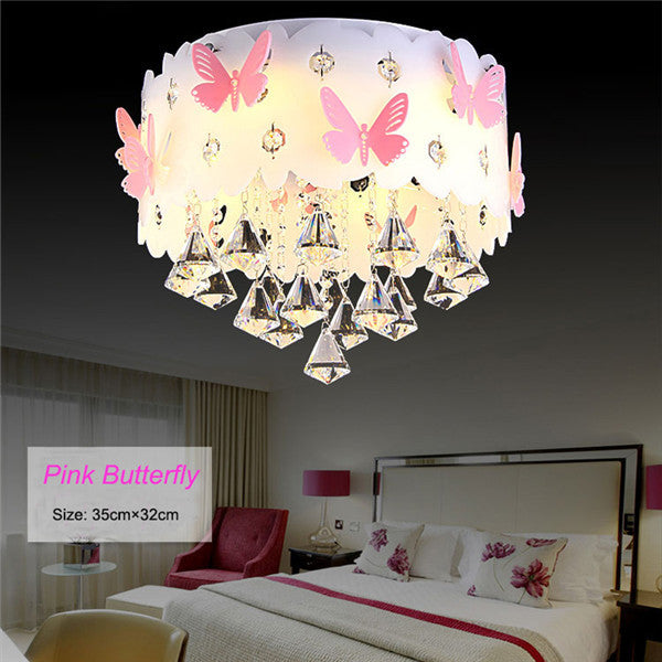 Modern LED Crystal Pink Butterfly Pendant Lamp CL185 - Cheerhuzz