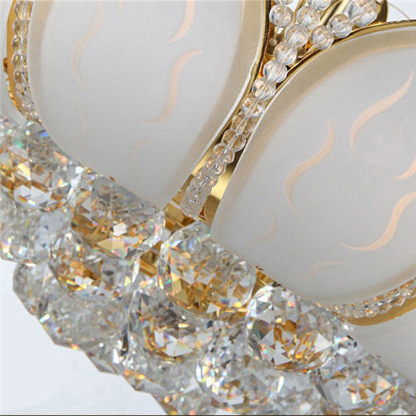 Round Golden Metal Luxury Crystal Ceiling Lamp CL186