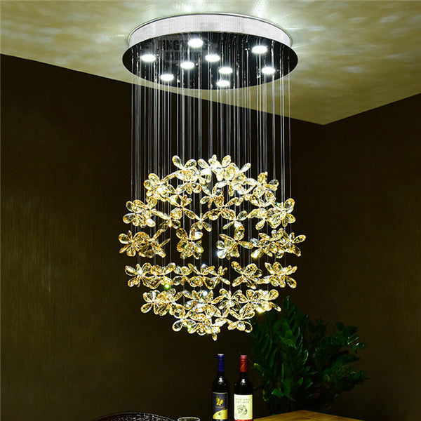 Modern LED Amber Crystal Flower Ceiling Light CL189