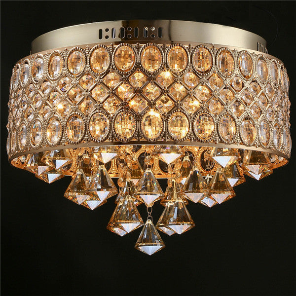 4 Lights Amber Crystal Flush Mount Light CL240 - Cheerhuzz