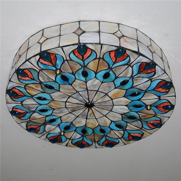 Tiffany Stained Glass Peacock Big Ceiling Light CL259