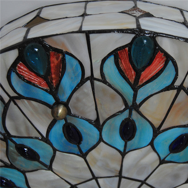 Tiffany Stained Glass Peacock Big Ceiling Light CL259 - Cheerhuzz