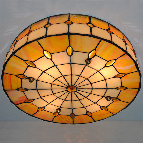 Tiffany White & Orange Stained Glass Ceiling Light CL263 - Cheerhuzz