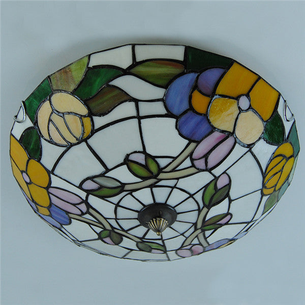 Tiffany Flower Pattern Stained Glass Ceiling Light CL267 - Cheerhuzz