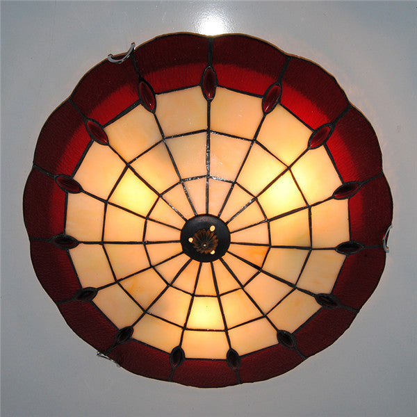 "16"" Red White Stained Glass Ceiling Lamp CL269 - Cheerhuzz"
