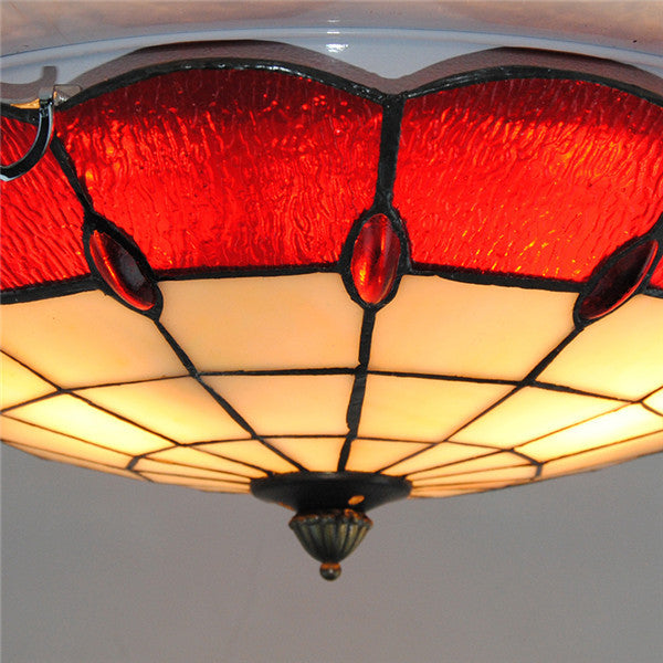 "16"" Red White Stained Glass Ceiling Lamp CL269"