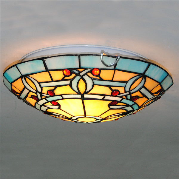 "12"" Tiffany Stained Glass Flush Mount Light CL287 - Cheerhuzz"