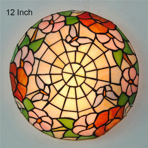 12/16 Inch Tiffany Butterfly Lamp Flowers Pattern Ceiling Light CL290 - Cheerhuzz