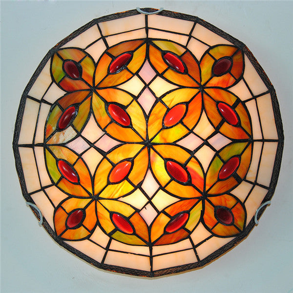 Classic Leaf Stained Glass Ceiling Lamp CL292