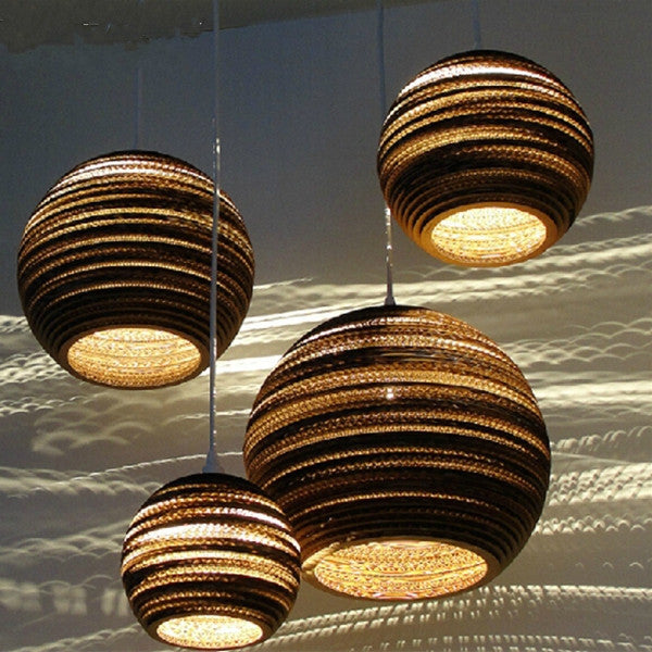 Handmade Brown Corrugated Paper Drop Scraplight PL295