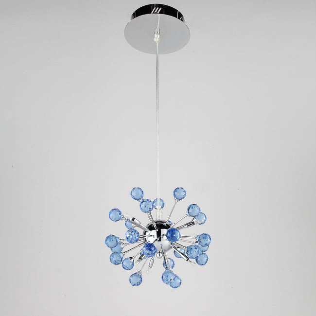 6-light Floral Shape K9 Blue Crystal Chandelier PL434 - Cheerhuzz