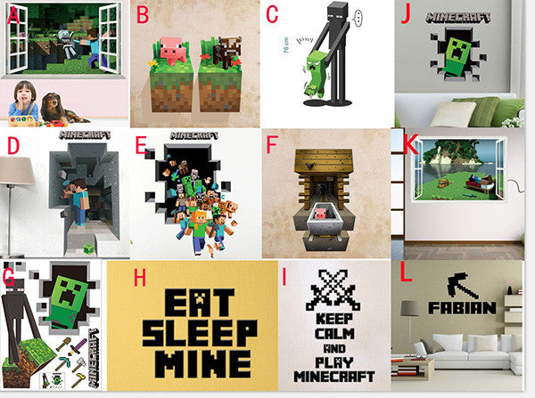 Minecraft Wall Cling Decals Sticker 3D Toy Art Room TY001