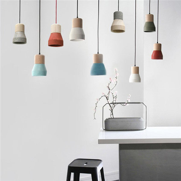 Concrete Wooden Minimalist Pendant Light PL452 - Cheerhuzz