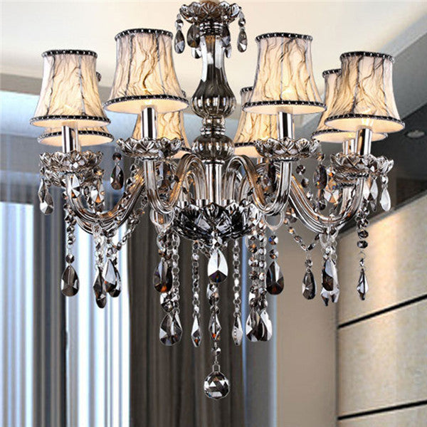 Modern Smoke Gray Crystal Chandelier PL475