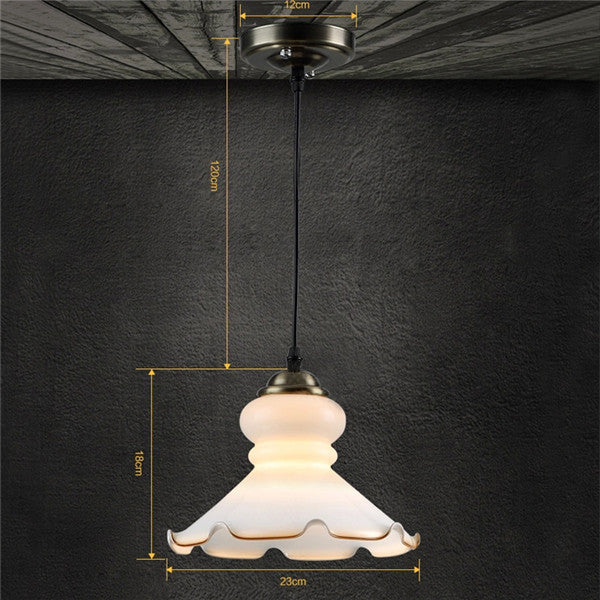 Retro Glass White Lotus Pendant Lamp PL493 - Cheerhuzz