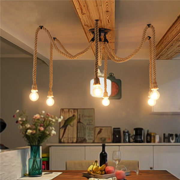Industrial Hemp Rope Pendant Lamp PL517 - Cheerhuzz
