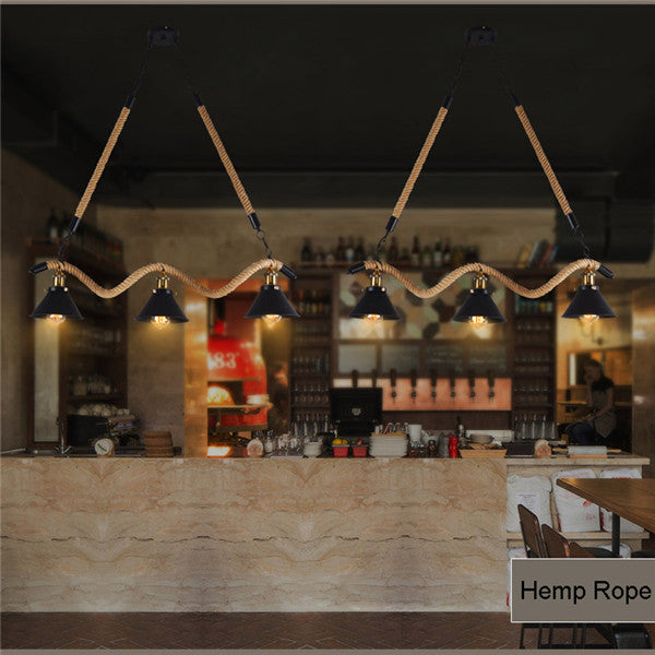 Retro Wave Hemp Rope Chandelier Fixture PL521 - Cheerhuzz