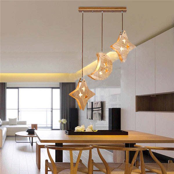Wood Moon & Stars Pendant Light PL522 - Cheerhuzz