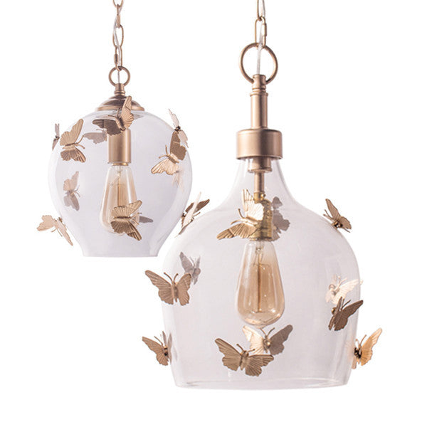 Retro Butterfly Glass Pendant Lamp PL525