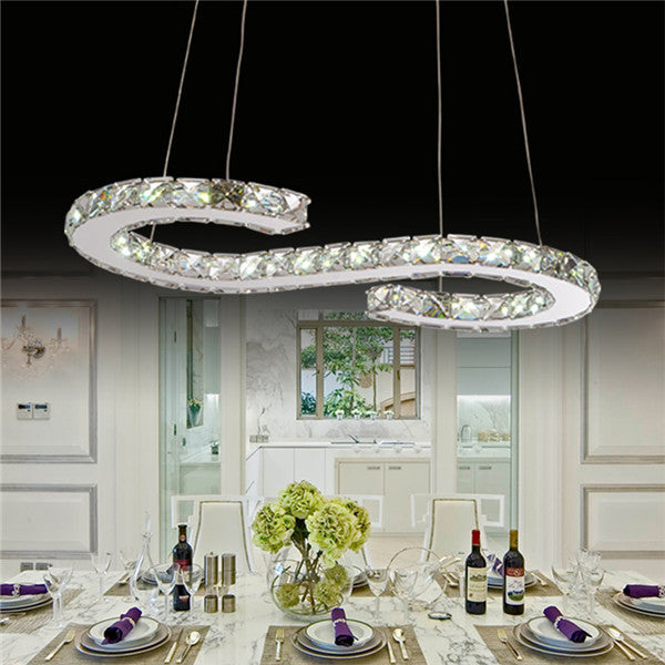 Modern S Crystal LED Chandelier Pendant Lamp PL530 - Cheerhuzz