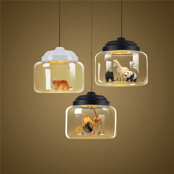 Modern Glass Chandelier 18W LED Pendant Light PL532