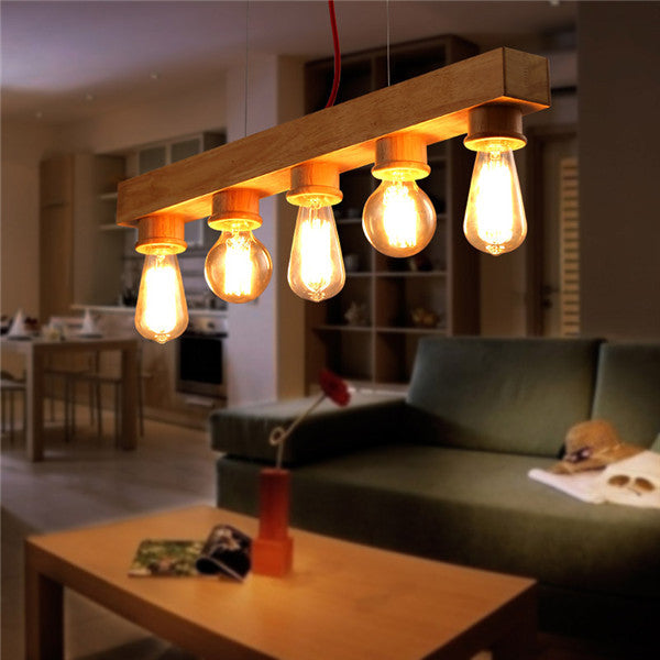 Edison Bulb Wooden Pendant Light PL550 - Cheerhuzz