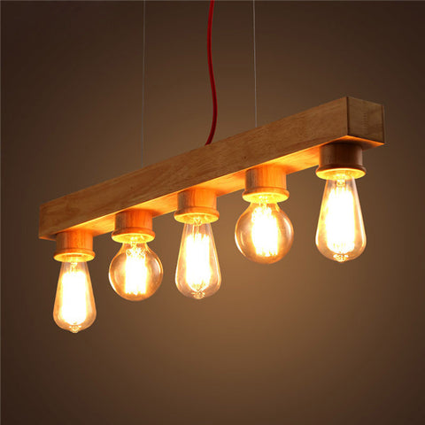 Edison Bulb Wooden Pendant Light PL550