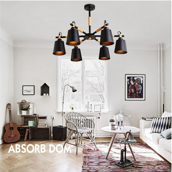 3/6 White Black Shades Metal Chandelier Light PL555 - Cheerhuzz
