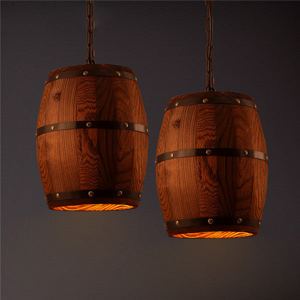 American Loft Wooden Barrel Pendant Lamp PL557 - Cheerhuzz