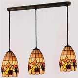 Retro Tiffany 3 Lights Stained Glass Pendant Lamp PL585