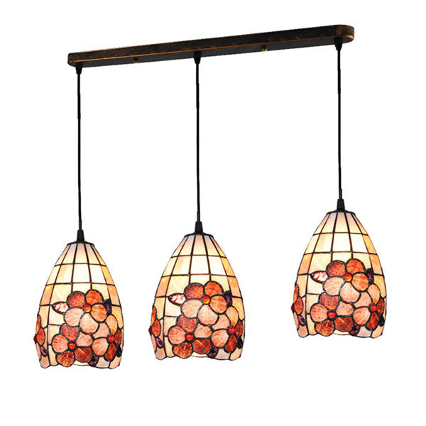 Tiffany 3 Lamps Stained Glass Flower Pendant Lights PL586