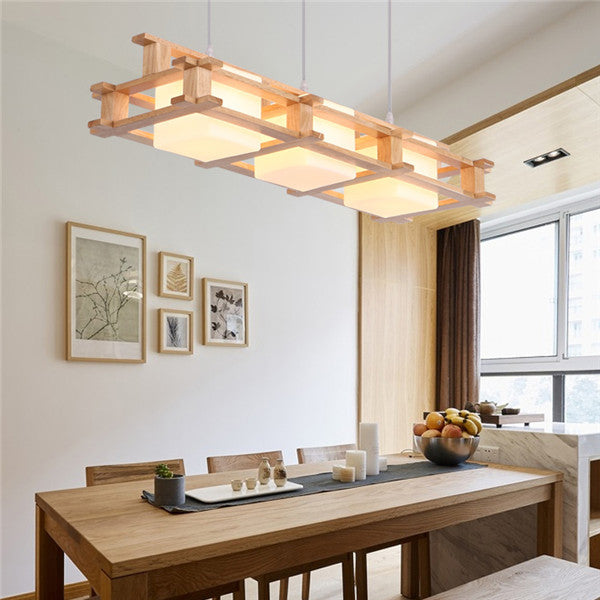 Retro 3 Lights Wood Pendant Lamp PL587