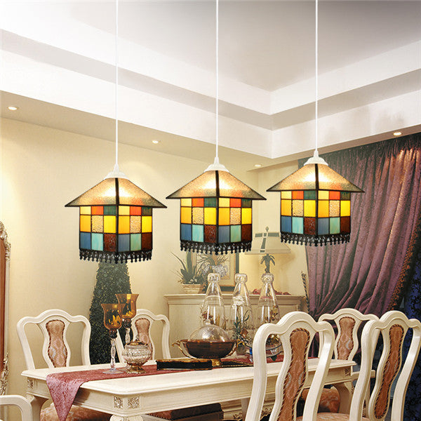 Tiffany 3 Lights Stained Glass Pendant Lamp PL594