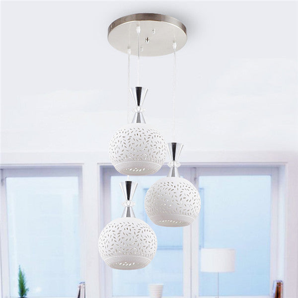 Modern White Ceramics 3 Lights Chandelier Pendant Lamp PL599 - Cheerhuzz